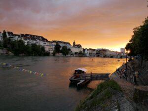 Sunset view over Basel Rhein